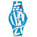 Swatch Uhr SUOS103 RED WHITE & BLUE New Gent White in Blue
