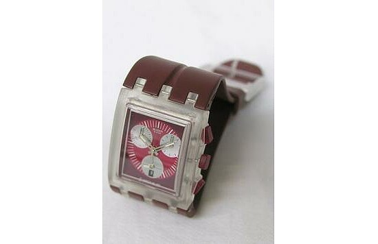 Swatch Uhr Square Chrono SUEK 401 Red Round