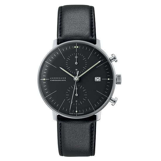max bill 027/4601.00 by Junghans Chronoscope Zifferblatt schwarz
