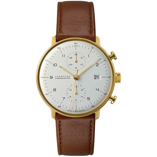 max bill 027/7800.00 by Junghans Chronoscope vergoldet