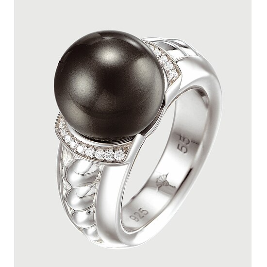 JOOP! JPRG 90494A Jewellery Silber-Ring Kristalle Perle anthrazit