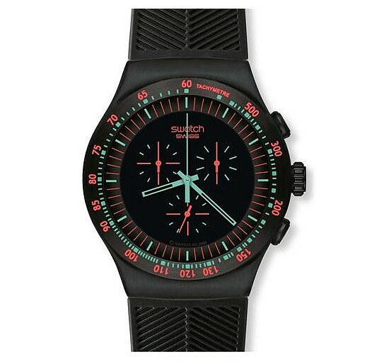 Swatch Uhr YOB 105 Black Collection Irony The Chrono Mint in Dark