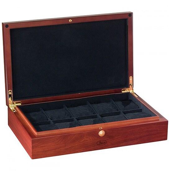 Artikel klicken und genauer betrachten! - Mittelgroße Uhrensammlerbox Atlantic für 10 Uhren. Edles Holzgehäuse mit echtem Rosenholzfurnier, poliert Polierte Metallbeschläge Schwarzes Samtfutter Farbe: Schwarz Größe: 10 Uhren Abmessungen (BxHxT): 340 x 80 x 210 mm Gewicht: 2,1 kg incl. Geschenketui | im Online Shop kaufen