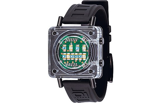 OI Binary Uhren Lady Watch Razor Block schwarz RB907B3
