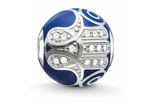 Thomas Sabo K0207-041-32 KARMA BEADS Silver Bead Blaue Fatimas Hand