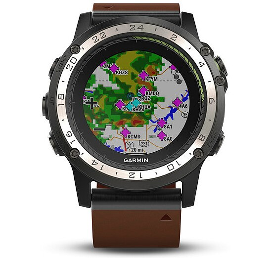 Garmin D2™ Charlie Aviator Watch Titanium Lederband Aviation GPS-Uhr Multisport GPS Smartwatch - Garmin 010-01733-31