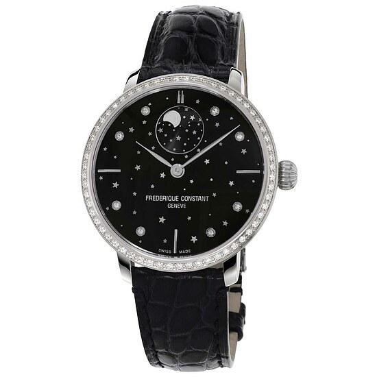 Frederique Constant Damenuhr FC-701BSD3SD6 der Uhrenserie Slimline Manufacutre Moonphase