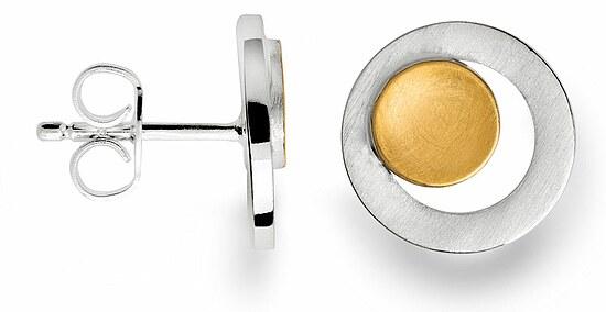 Bastian 12452 Inverun Silber Ohrstecker teilvergoldet mattiert