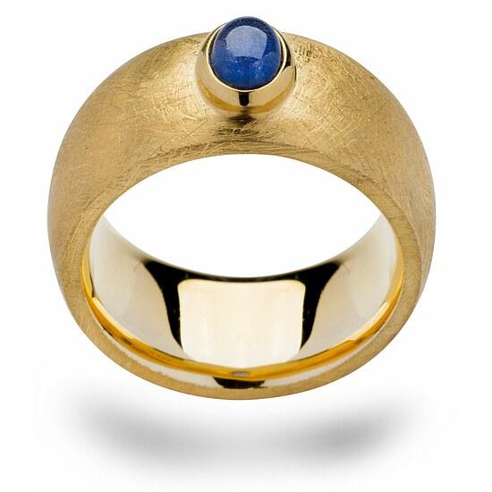 Bastian 12507 Inverun Silber Ring kratzmatt vergoldet - blau