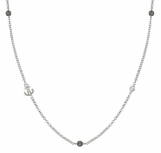 Nomination 146203 013 GIOIE Halskette Anker Silber - graue Jade