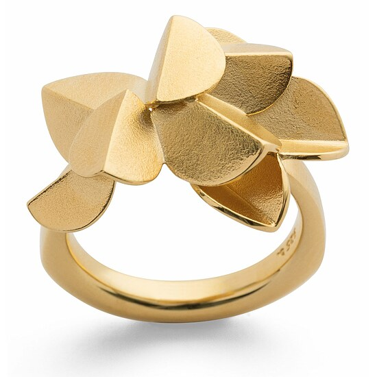 Bastian 12760 Inverun Silber golden Fairytale Leaf Ring matt - 54