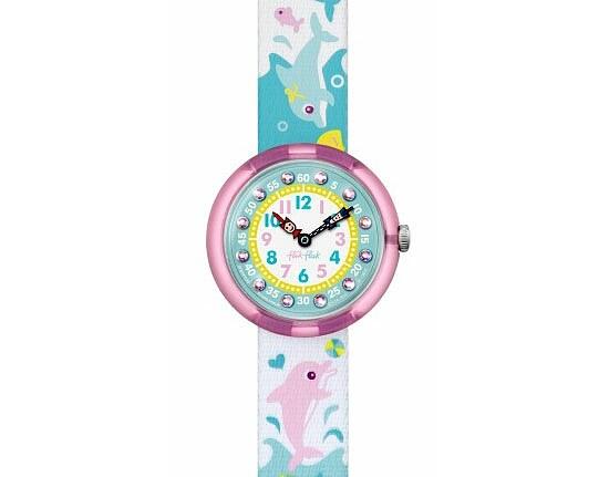 Flik Flak Uhren FBNP035 Girl Sunny Hours Kinderuhr Cute-Size (3+) Splashy Dolphins Kristalle