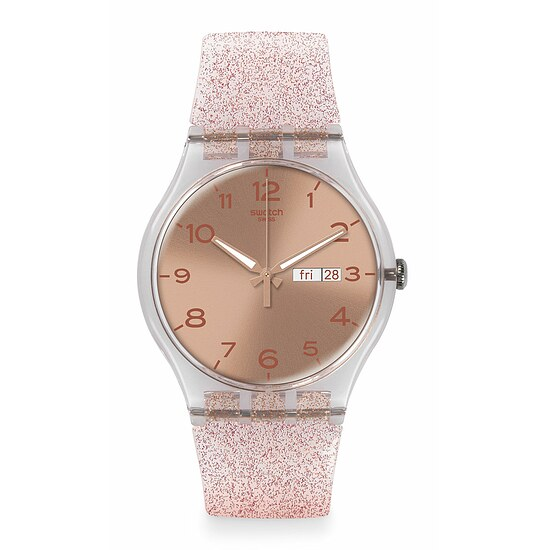 Swatch Uhr SUOK703 SPRING BREEZE New Gent Pink Glistar