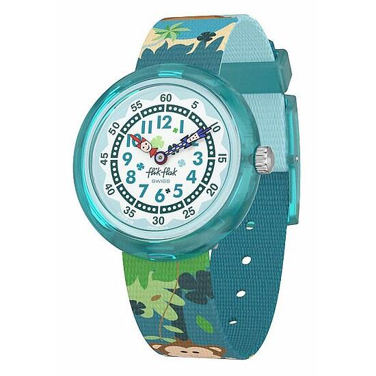 Flik Flak Uhren-Serie FBNP128 TIKI ISLAND Kinderuhr Story Time (3+) Monkeynesia