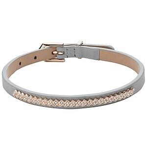 Fossil JF02671 Damenarmband aus Leder mit Edelstahl und Glassteinen