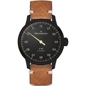 Meistersinger Blackline AM902BL der Uhren-Serie N°03 Automatik - Die Einzeigeruhr