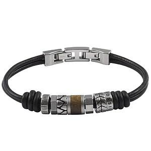 Fossil JF84196 Edelstahl Gent Collection Leder-Armband Holz