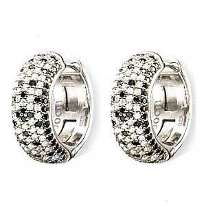 JOOP! JPCO90118A000 Women Silber-Creolen Kristalle weiß-schwarz