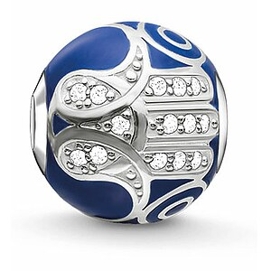 Thomas Sabo K0207-041-32 KARMA BEADS Silver Bead Blaue Fatimas Hand - 57810