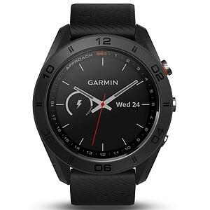 Garmin Approach S60 Schwarze GPS-Golfuhr mit schwarzem Silikon Armband - Garmin 010-01702-00