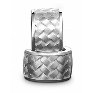 Quinn 0369660 Silber Creolen Woven_Pattern matt/poliert