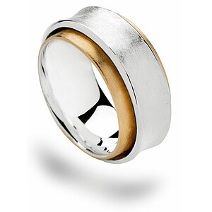 Bastian 12553 Inverun Silber Ring teilvergoldet kratzmatt