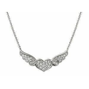 Nomination 145383 010 ANGEL LOVE EDITION  Halskette Silber - beflügeltes Herz Cubic Zirkonia