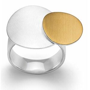 Bastian 12687 Inverun Silber Ring teilvergoldet - mattiert/kratzmatt