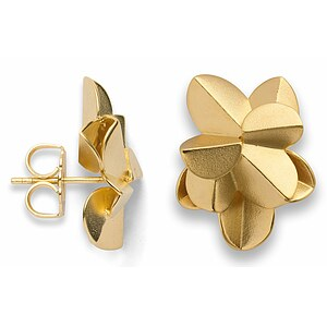 Bastian 12761 Inverun Silber golden Ohrstecker Fairytale Leaf sandmatt