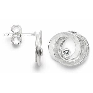 Bastian 12819 Inverun Silber Ohrstecker mattiert Diamant
