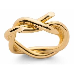 Bastian 12757 Inverun Silber golden Infinite Twist Ring poliert - S/52