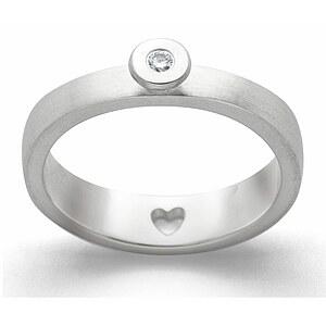 Bastian 12823 Inverun Silber matt Diamant Ring - 54
