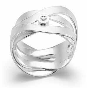 Bastian  12681 Inverun Silber matt Diamant Ring - 56