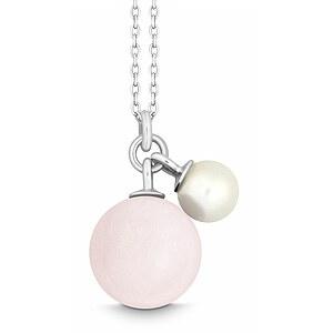 Quinn 027601430 Silber Halskette Happy_Touch Perle Rosa Quarz - 45 cm