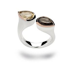 Bastian 12075 Inverun Silber Ring Rauchquarz -Champagner Quarz