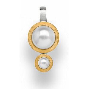 Bastian 12596 Inverun Silber Anhänger teilvergoldet kratzmatt Perlen
