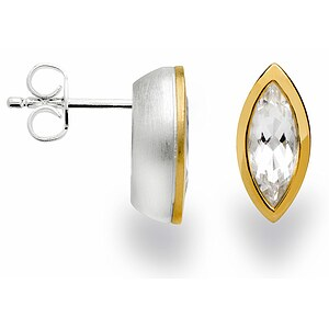 Bastian 12624 Inverun Silber vergoldet Ohrstecker Bergkristall