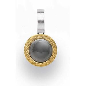 Bastian 12625 Inverun Pendant Silber mattiert Anhänger teilvergoldet Mondstein grau
