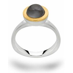 Bastian  12626 Inverun Silber vergoldet Ring Mondstein grau